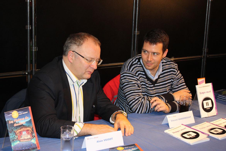 Alain VOISOT et Vincent VANDERBOGHT en dédicace pendant la Foire de Tournai